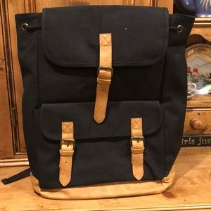 Black Canvas and vegan leather back pack
